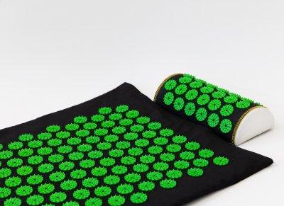 Массажный коврик с валиком (аппликатор Кузнецова) массажер для спины/шеи/головы/тела/ног OSPORT Long (apl-019) Черно-салатовый