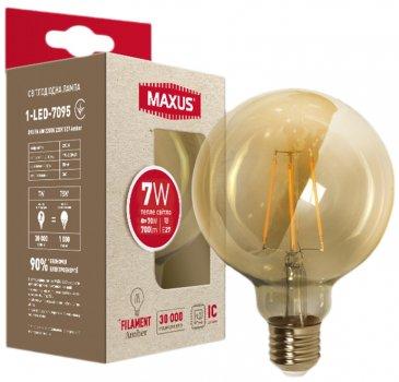 Лампа світлодіодна MAXUS G95 FM 7 Вт 2200 K 220 В E27 Amber (1-LED-7095)