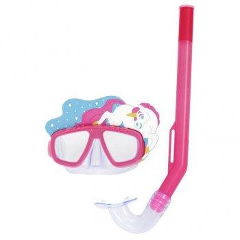 Набор для плавания детская маска с трубкой в виде единорога Bestway 24059 (маска: размер S, (3+), обхват головы ≈ 48-52 см, трубка), розовый