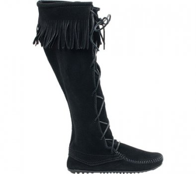 Чоловічі чоботи Minnetonka Front Lace Hardsole Knee Hi Black Suede (131081) (Just For You)