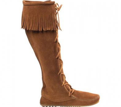 Чоловічі чоботи Minnetonka Front Lace Hardsole Knee Hi Brown Suede (120099) (Just For You)