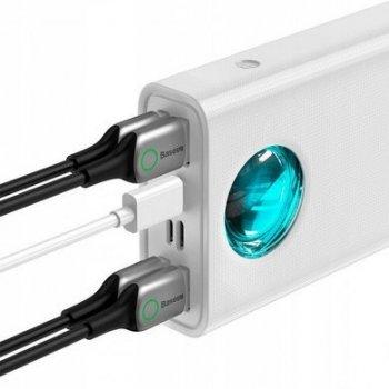 Повербанк Baseus 33W Quick Charge 30000mAh|4USB/Type-C/Lightning, 6A/33W, QC/PD|для MacBook/iPad/iPhone/ Xiaomi/ Samsung/Huawei white
