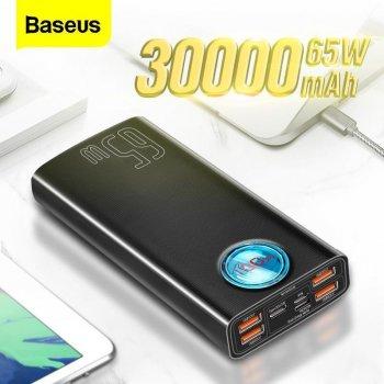 Повербанк Baseus 65W Quick Charge 30000mAh|4USB/Type-C/Lightning, 6A/65W, QC/PD|для MacBook/iPad/iPhone/ Xiaomi/ Samsung/Huawei