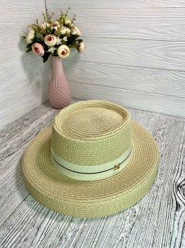 Шляпа солнцезащитная соломенная женская абажур кремовая 54-58