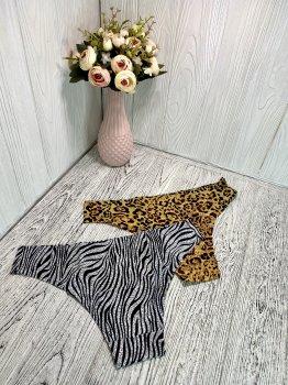 Трусы женские бесшовные 2 шт в наборе зебра и леопардовый принт