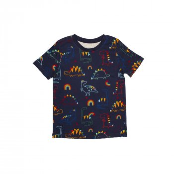Пижама для мальчика (1 шт) George тёмно-синего цвета футболка и штаны с динозаврами 7-8 лет 128см) 1821