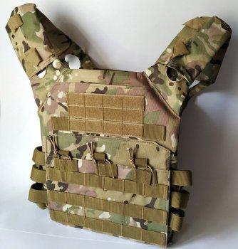 Тактический военный жилет плитоноска чехол для бронепластин Tactic под 3 рожка с системой Molle (plate-multic)