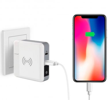 УМБ Super Charger 6700mAh Travel QI Wireless Charger, QC 3.0, PD 18W, White
