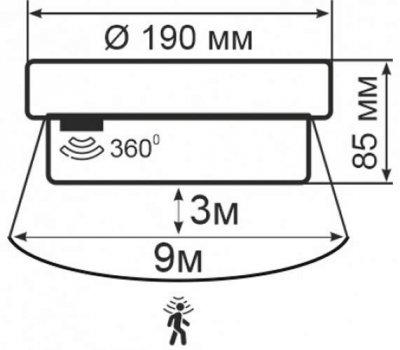 Світильник з датчиком руху настінно-стельовий ERKA 1065D.I -S, 26 W, круглий, прозорий, E27, IP 65