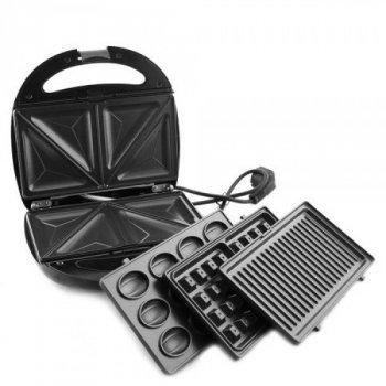 Сендвичница бутербродниця Гриль вафельниця горішниця 4в1 1200 Вт зі знімними формами GrandHoff GT-780