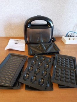 Мультимейкер гриль сендвичница вафельниця горішниця 4-в-1 Rainberg RB-5408 2200W Чорна