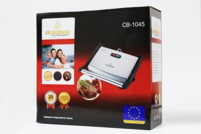 Гриль электрический, сэндвичница, бутербродница для стейков Fousting CB 1045 (Crownberg) 2000Вт контактный Черный