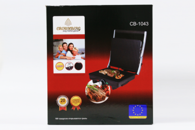 Гриль электрический сэндвичница, бутербродница с регулятором температуры Fousting CB 1043 (Crownberg) 2000Вт контактный Черный