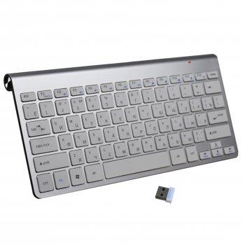 Комплект Беспроводная клавиатура и мышь для планшета SmartTV или ПК Русская раскладка Silver