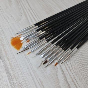 Набор кистей для рисования на ногтях Sweet Nails 15 шт черные
