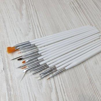 Набор кистей для рисования и дизайна ногтей Sweet Nails 15шт белые