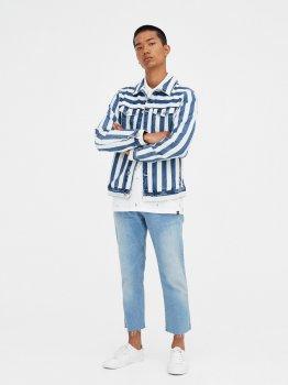 Джинсова куртка Pull & Bear 9712/502/400-AAKA Біла із синім