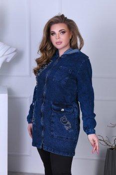 Куртка жіноча подовжена з капюшоном на блискавці джинс Miss Podium Синій