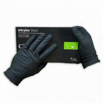 Перчатки нитриловые Nitrylex в чёрном цвете 100 шт/уп S
