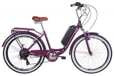 """Электровелосипед 26"""" LUX AM 17"""" 350Вт 36В редуктор. 8.8Ач с крепл. на раму, сливовый (м) 2020"""