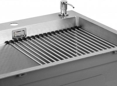 Кухонна мийка QTAP DH5050 3.0/1.2 мм Satin із сушаркою і дозатором
