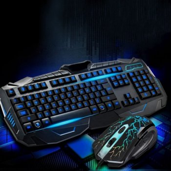 Комплект проводная клавиатура и мышь с 3-я видами подсветки Atlanfa AT-V100P (100)
