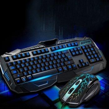 Комплект проводная клавиатура и мышка с 3-я подсветками Atlanfa AT-V100P (100P)