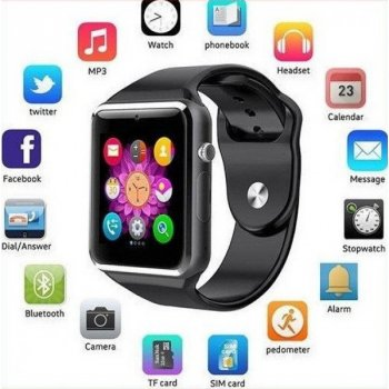 Розумні Годинник Smart Watch А1 Pro на Android з Bluetooth microSD крокомір камера Turbo Black GSO 305-648