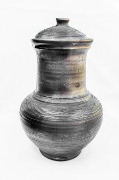 Крынка ГончарКа гончарная ручная работа 1 л. чернодымленная