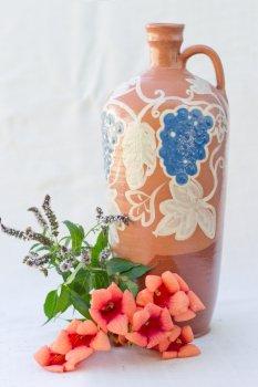 Бутылка ГончарКа гончарная 1 л. синий орнамент