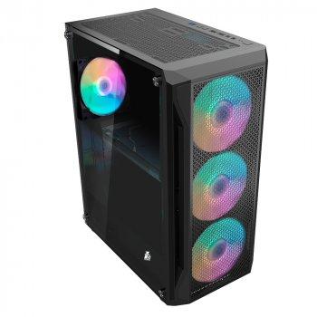 Корпус 1stPlayer X5-3G6P-1G6 Color LED Black без БП