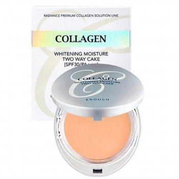 Осветляющая пудра со сменным блоком Enough Collagen Whitening Moisture Two Way Cake SPF30 PA+++ № 21 (77700095)