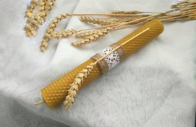 Восковая свеча с вощины с пшеницей Zigrivay (3,5 x 26см) (10037)