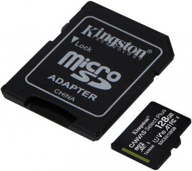 Kingston microSDXC 128GB Canvas Select Plus Class 10 UHS-I U1 V10 A1 + SD-адаптер (SDCS2/128GB)
