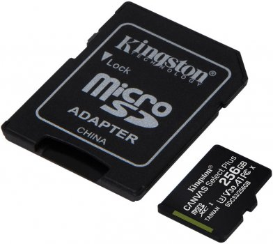 Kingston microSDXC 256GB Canvas Select Plus Class 10 UHS-I U3 V30 A1 + SD-адаптер (SDCS2/256GB)