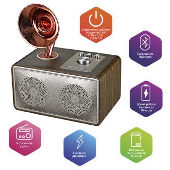 Бездротова Bluetooth колонка SODO Z16 Rose Gold Оригінал