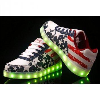 Світні кросівки UNi з LED-підошвою дитячий кросівок на шнурівці для дівчаток American (HL)