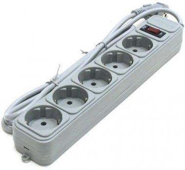 Мережевий фільтр 3.0 м Geмbird SPG5-G-10G 5розеток, сірий