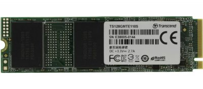 Твердотільний диск SSD M. 2 128GB Transcend MTE110S NVMe PCle 3.0 4x 2280 Read: 1600Mb/s Write: 400Mb/s (TS128GMTE110S)