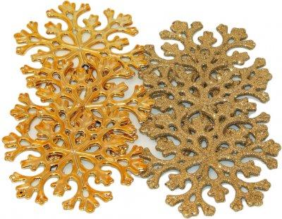 Набір ялинкових іграшок mag-2000 сніжинка 11 см 6 шт. Золотий (5102681030392)