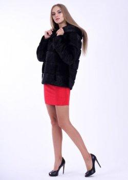 Шуба BG-Furs короткая с меха нутрии с капюшоном Черная