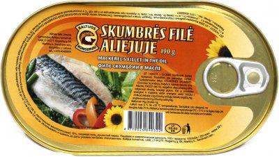 Скумбрия Baltijos konservai филе в растительном масле 190 г (4779026840322)