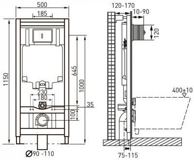 Інсталяція VOLLE Master 4 в 1 141515 + унітаз ROCA Gap Rimless A34H470000 зі сидінням Slim Soft Close