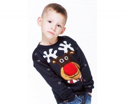 Светр для хлопчика Фолк мода в'язаний різдвяний (101) темно-синій синій КН 101-2-2