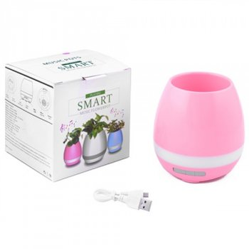 Bluetooth-колонка LUX YX-HP201, квітковий горщик з підсвічуванням (рожевий)