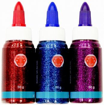 Клей для слаймов с блестками Malevaro 50 мл 3 цвета Красный Синий Сиреневый (XD12050-rbp)