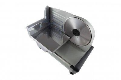 Ломтерезка слайсер Camry CR 4702 с ножом 19 см + складной столик и съемный толкатель + индикатор толщины нарезки 200 Вт Металлик