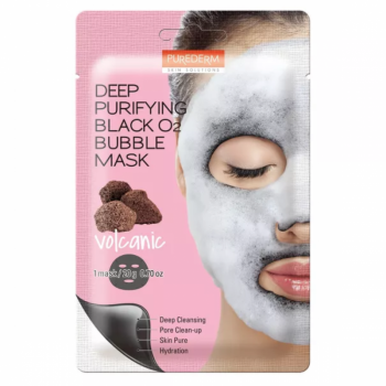 Кислородная маска Purederm Deep Purifying Black O2 Bubble Mask Volcanic - 20 грамм
