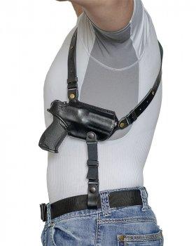 Подплечная шкіряна кобура з подсумком для магазину A-LINE для Форт-17/18/19 чорна (1КП2+)