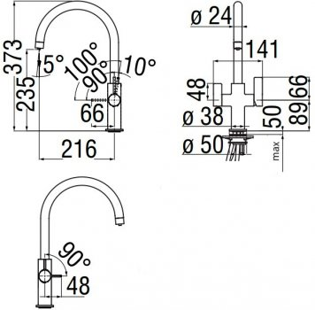 Кухонний змішувач з під'єднанням до фільтра NOBILI Kitchen FL96824/3VCR